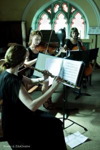 Flute trio consisting of Tee Sullivan, Kathryn Shinnick and Sidney Harvey